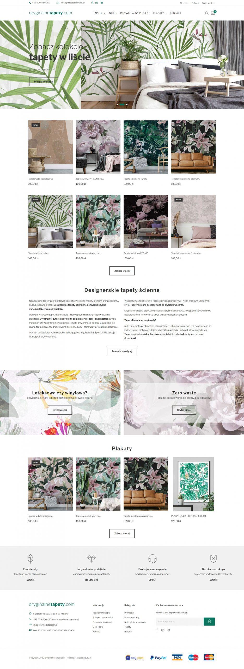 Sklep internetowy z tapetami dla firmy Oryginalne Tapety wykonany przez websiteguru.pl