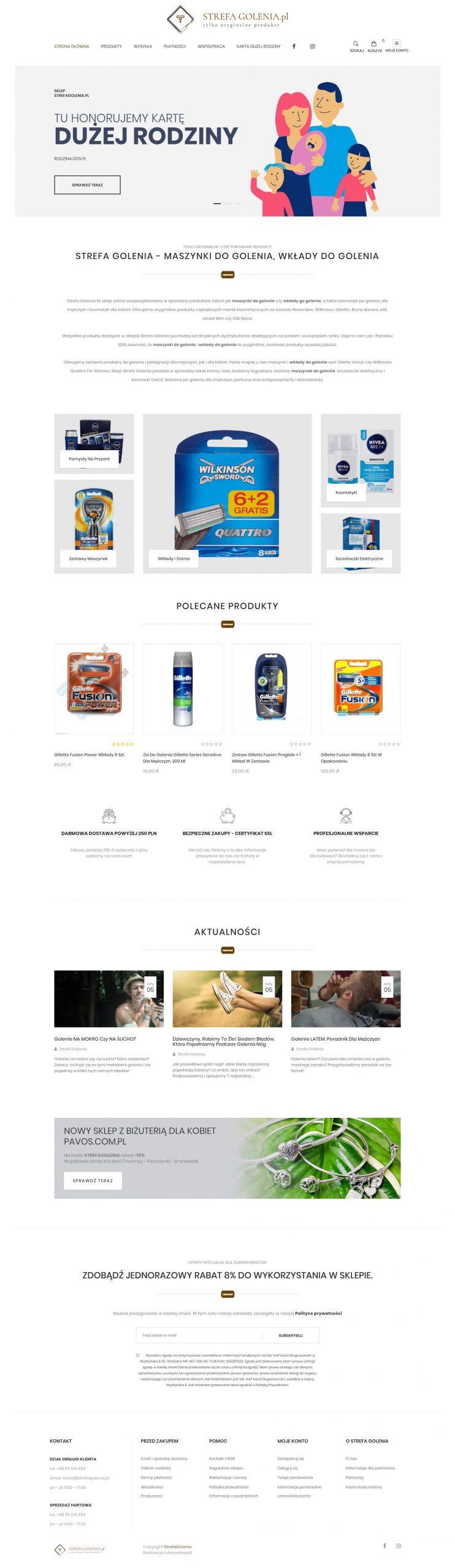 Sklep internetowy dla Strefy Golenia wykonany przez websiteguru.pl