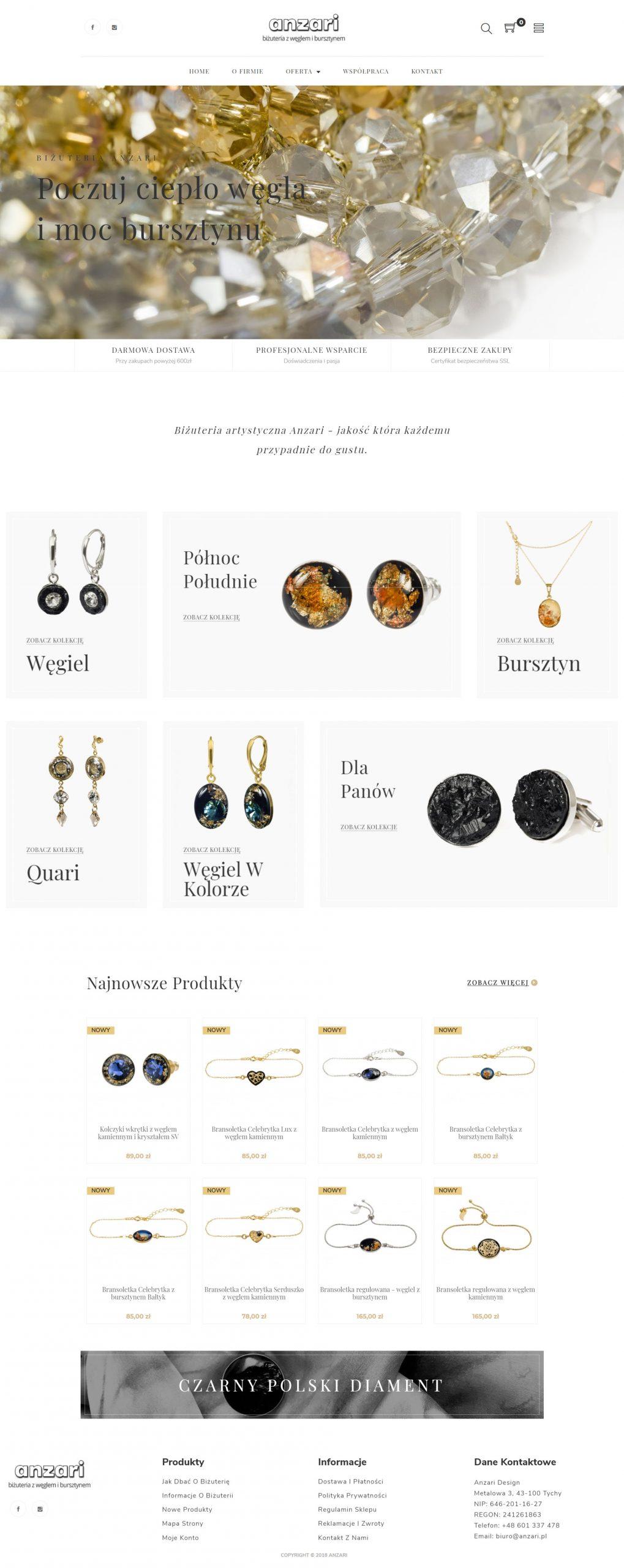 Sklep internetowy z biżuterią dla firmy Anzari wykonany przez websiteguru.pl