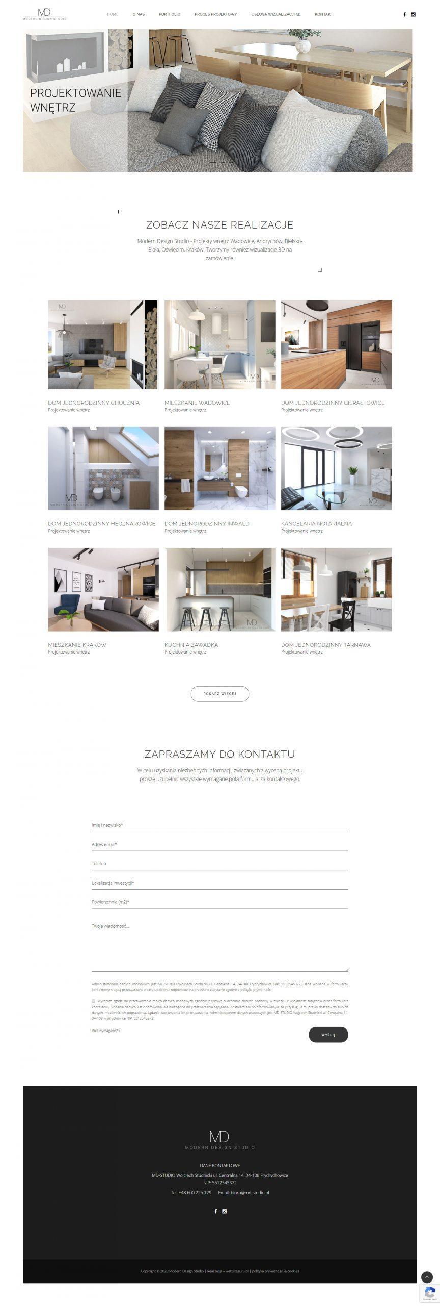 Projekt strony md-studio.pl wykonany przez websiteguru.pl