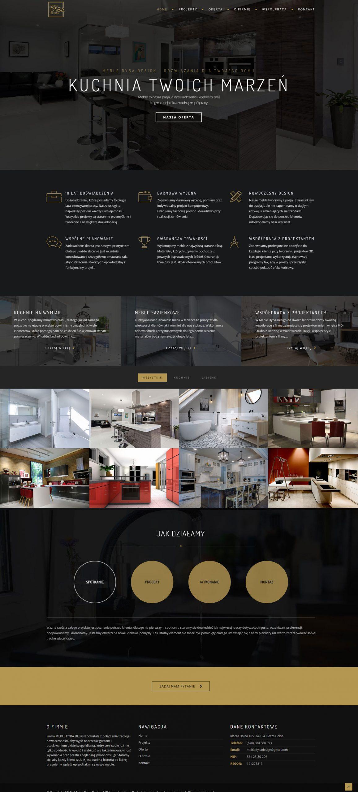 Projekt strony internetowej dla stolarza wykonany przez websiteguru.pl