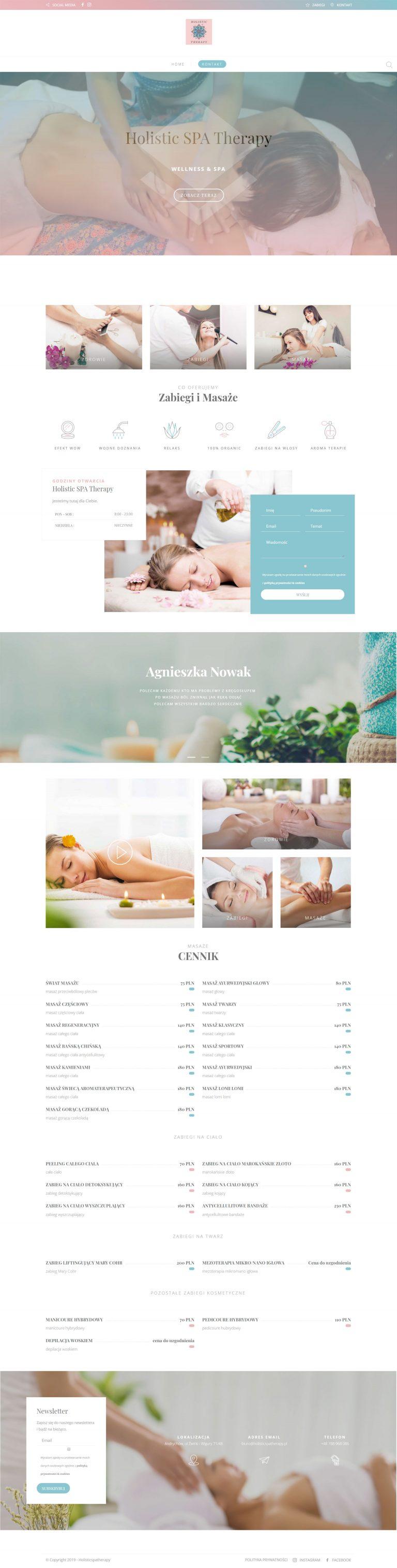 Projekt strony internetowej dla studia masażu wykonany przez websiteguru.pl